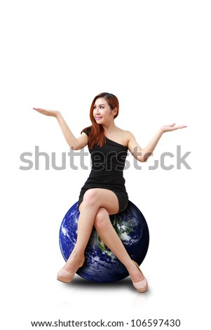 Studio portrait lady on globe isolated : Elements of this image furnished by NASA - stock photo