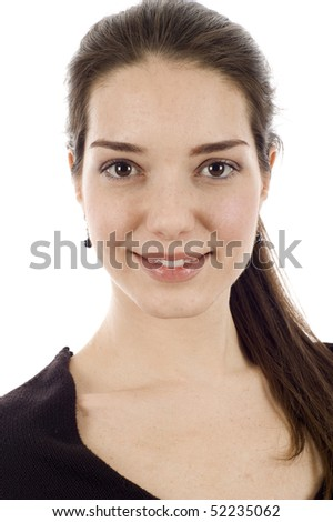 Studio portrait of a beautiful smiling woman isolated over a white background - stock photo