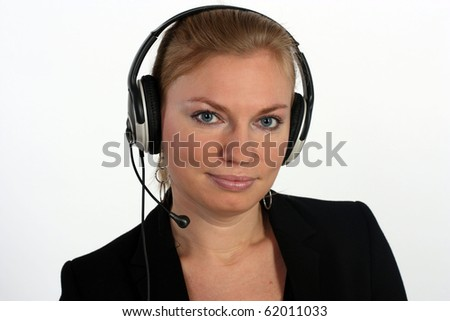 Studio portrait of a business woman with headset