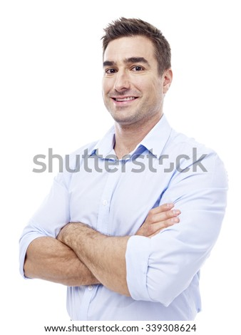 studio portrait of a caucasian corporate executive, arms crossed, waist up,  isolated on white background.