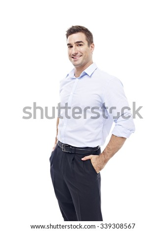 studio portrait of a caucasian corporate executive, hands in pockets, side view, isolated on white background.