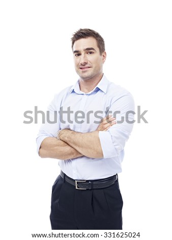 studio portrait of a caucasian corporate executive, isolated on white background. - stock photo