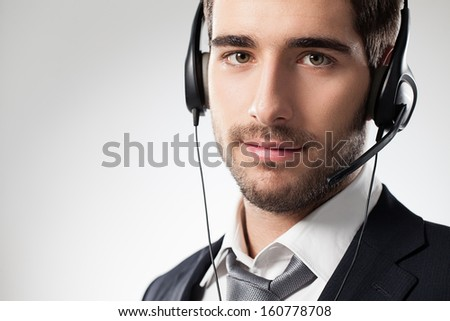 Studio portrait of a customer support representative. - stock photo