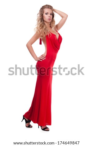 studio portrait of a cute adult girl in evening dress