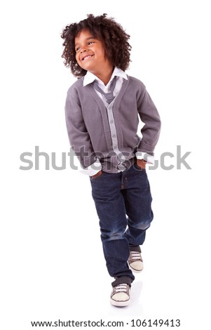 Studio portrait of a cute african little boy ,isolated on white background