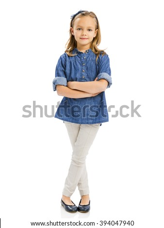 Studio portrait of a cute blonde girl, isolated in white background - stock photo