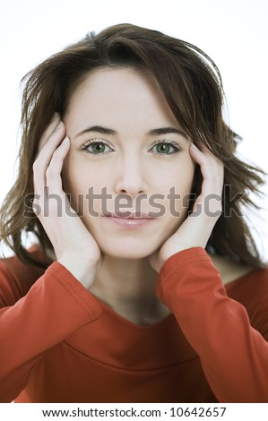 studio portrait of a expressive caucasian beautiful charming woman
