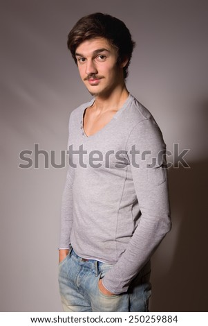 Studio portrait of a handsome young man