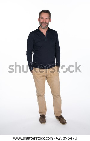 Studio portrait of a middle aged man isolated