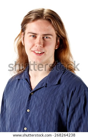 Studio portrait of a young man with long blonde hair isolated on white. - stock photo