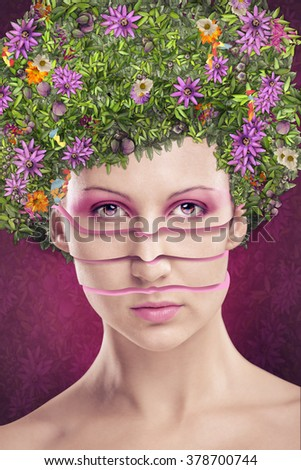 studio portrait of a young woman with an extreme hairstyle and make up - stock photo