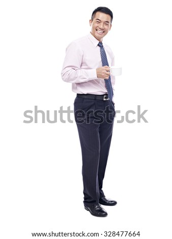 studio portrait of asian businessman with coffee cup in hand, isolated on white background. - stock photo
