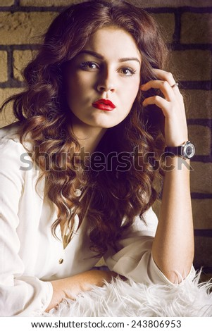 Studio portrait of attractive girl