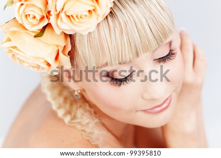 Studio portrait of beautiful bride