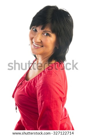 studio Portrait of beautiful mature woman looking in camera, isolated on white background