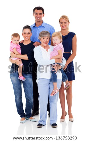 studio portrait of big family on white background - stock photo