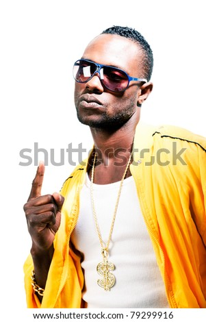 Studio portrait of cool black gangster rapper with yellow jacket and sunglasses. Isolated against white background. - stock photo