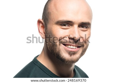 Studio portrait of happy young man  - stock photo