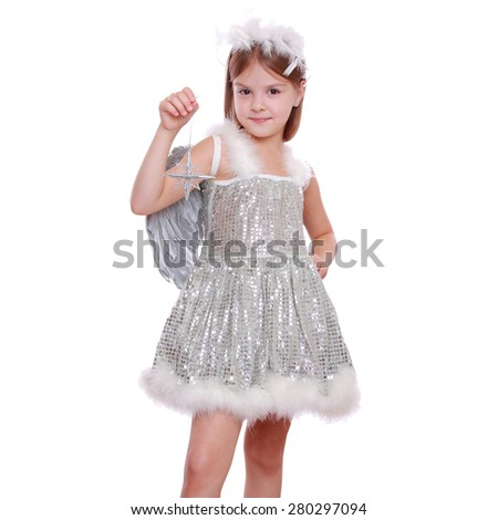 Studio portrait of lovely smiley sweet little angel figurine with stars isolated on white background on Holiday theme/Cute happy Xmas angel with star from fairy tale on Holiday theme