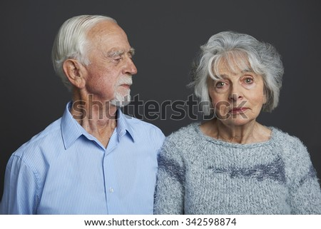 Studio Portrait Of Senior Couple - stock photo