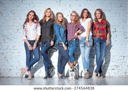 Studio portrait of Six young happy attractive smiling women dressed in jeans grouped together with a little dog against brick wall - stock photo