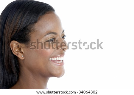 Studio Portrait Of Smiling Woman