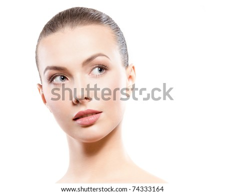 studio portrait of young beautiful woman - clean beauty concept