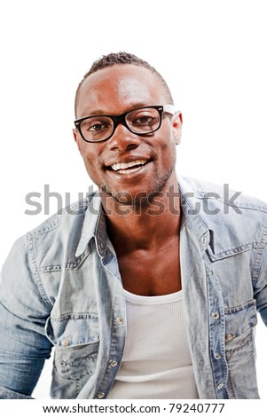 Studio portrait of young black man casual jeans style wearing vintage glasses isolated against white background. - stock photo