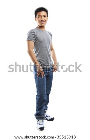 Studio portrait of  young fitness Asian man full body