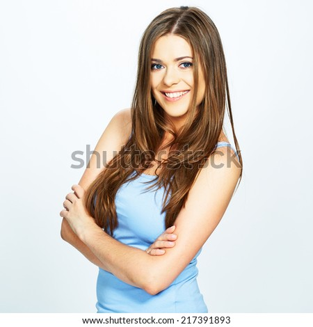 studio portrait of young woman isolated . white background . long hair .
