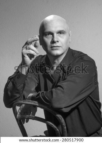 Studio portrait portrait caucasian bald men. Emotions. Surprised - stock photo