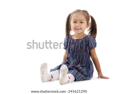 studio portrait two years old girl - stock photo