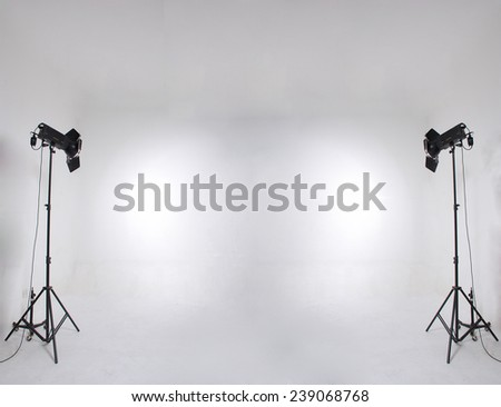 studio setup with lights and background - stock photo