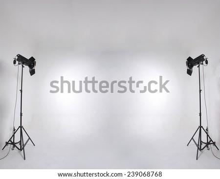 studio setup with lights and background - stock photo