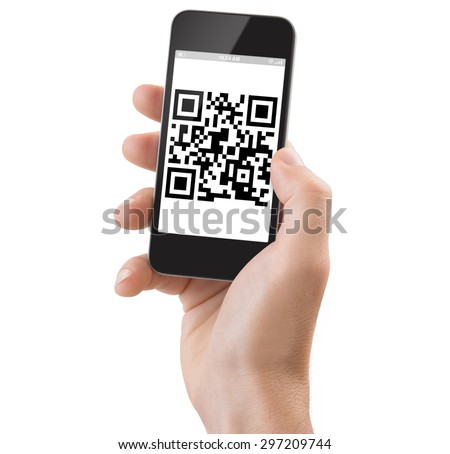 Studio Shoot of a adult man's hand holding a generic smartphone scanning a Qrcode. - stock photo