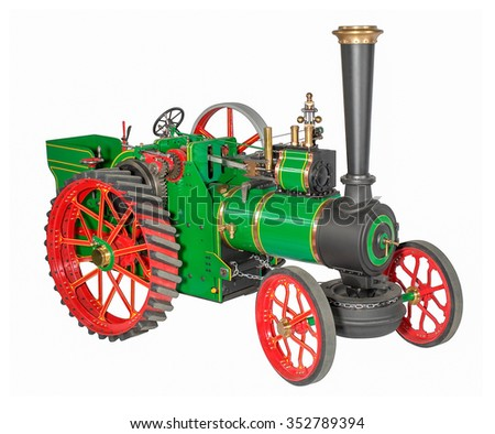 studio shot of a automotive steam engine model in white back