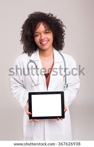 Studio shot of a beautiful african doctor - stock photo