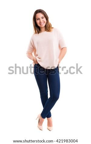 Studio shot of a beautiful young casual woman - stock photo