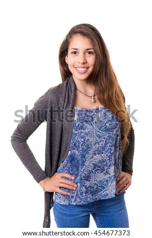 Studio shot of a beautiful young casual woman