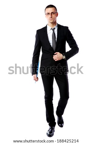 Studio shot of a confident businessman over white background - stock photo