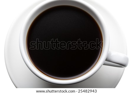 Studio shot of a cup of black coffee, seen from above - stock photo