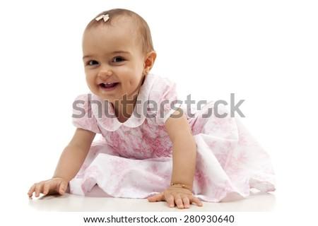 Studio shot of a cute girl baby - stock photo