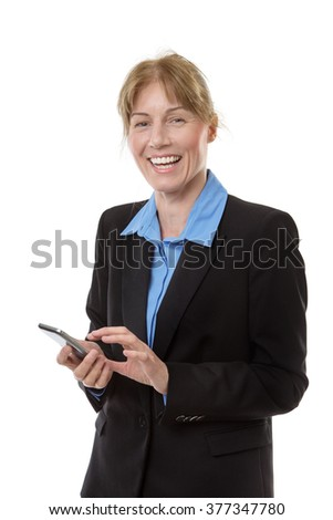 Studio shot of a mature businesswoman standing using mobile phone. isolated on white. - stock photo