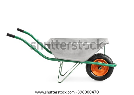 Studio shot of a metal wheelbarrow with green handles isolated on white background - stock photo