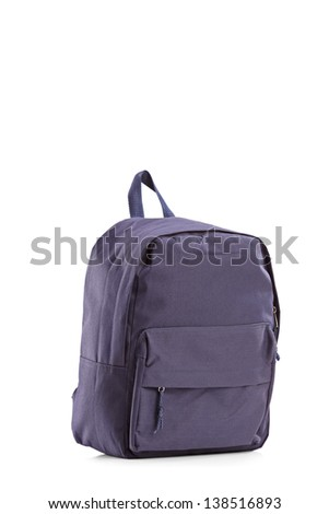 Studio shot of a navy blue closed backpack, isolated on white background