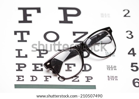 Studio shot of a pair of glasses on an eye chart on white background - stock photo