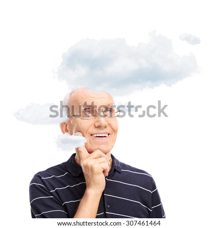 Studio shot of a pensive senior with a few clouds floating around his head isolated on white background - stock photo