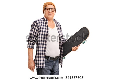Studio shot of a senior hipster with a yellow hat holding a skateboard and looking at the camera isolated on white background - stock photo