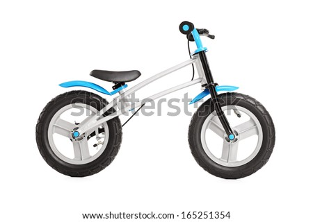 Studio shot of a small generic bike for children isolated against white background - stock photo