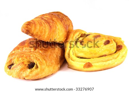 Studio shot of a some typical French viennoiseries. - stock photo